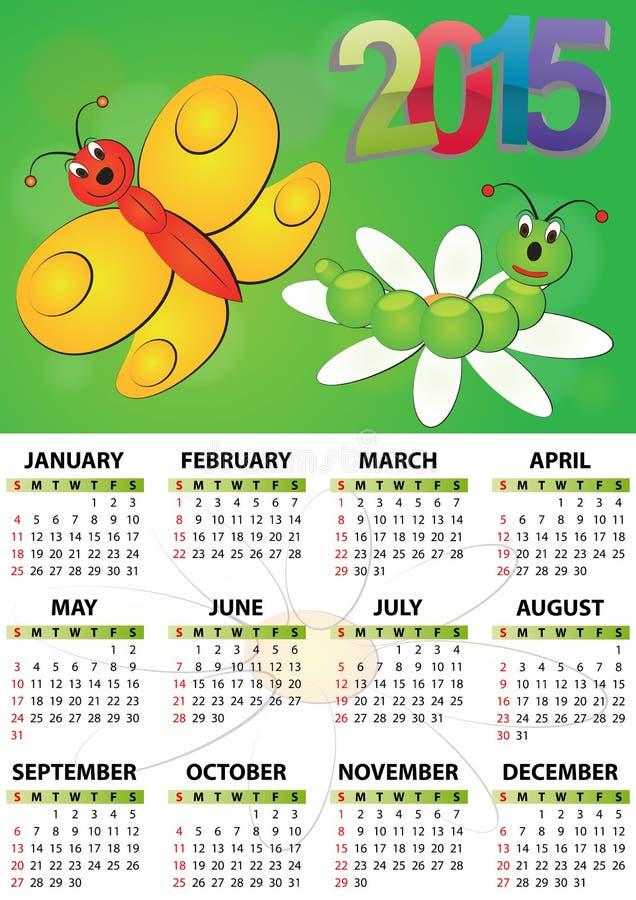 calendario 2015 de la mariposa stock de ilustración