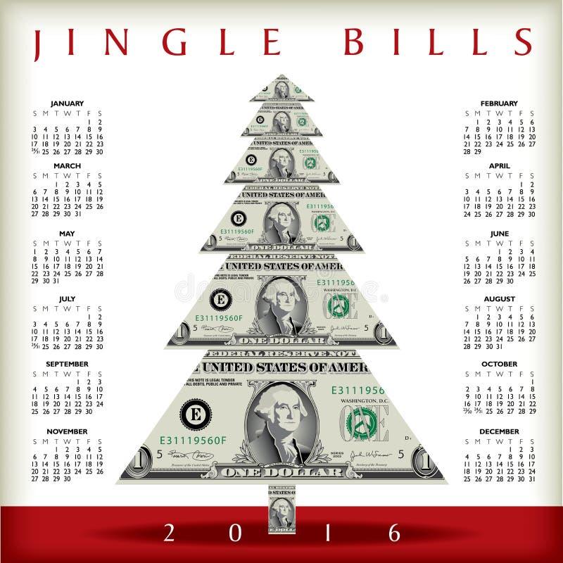 Calendario 2016 de la Navidad stock de ilustración