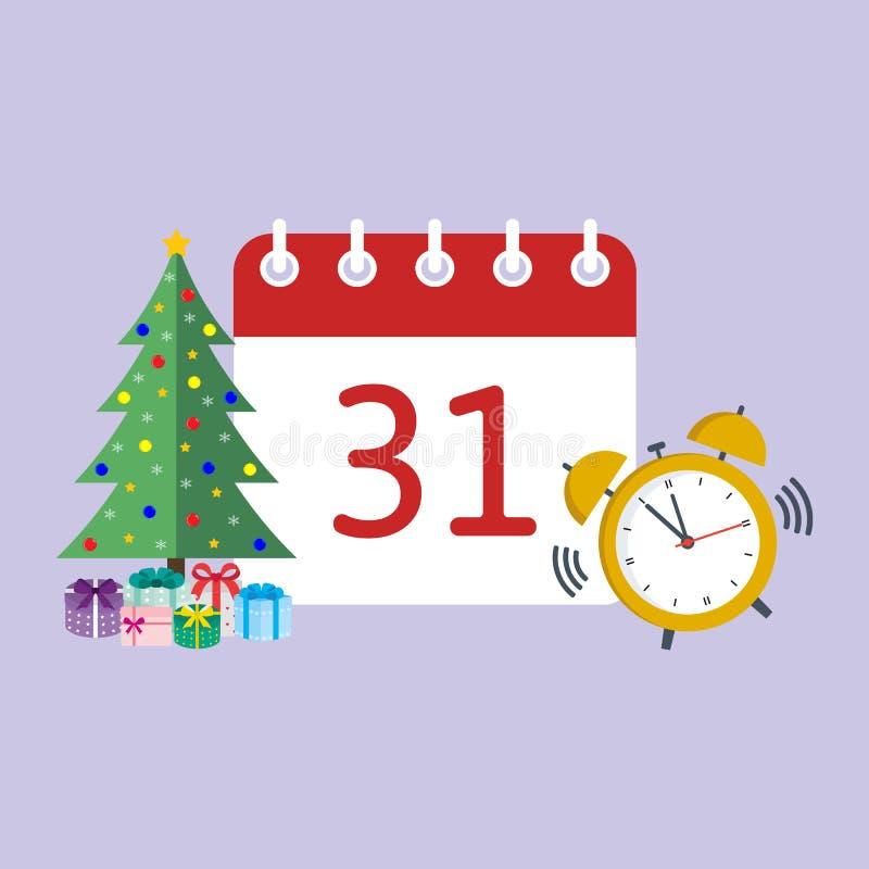 Calendario de la Navidad con el árbol solo y el despertador stock de ilustración
