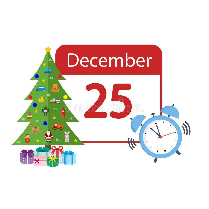 Calendario de la Navidad con un árbol de navidad con juguetes y un despertador libre illustration