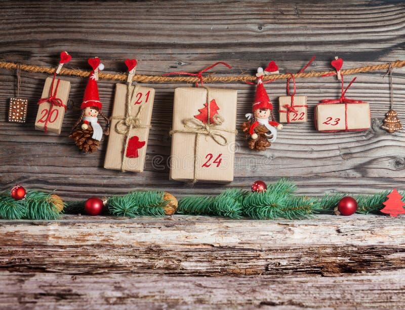 Calendario de la Navidad, regalos fotografía de archivo libre de regalías