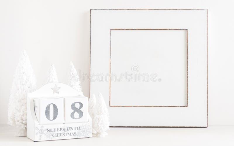 Calendario de la Navidad - 8 sueños hasta la Navidad foto de archivo