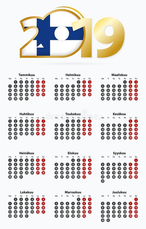 Calendario 2019 de la plantilla del vector con el número en círculos, calendario finlandés simple ilustración del vector