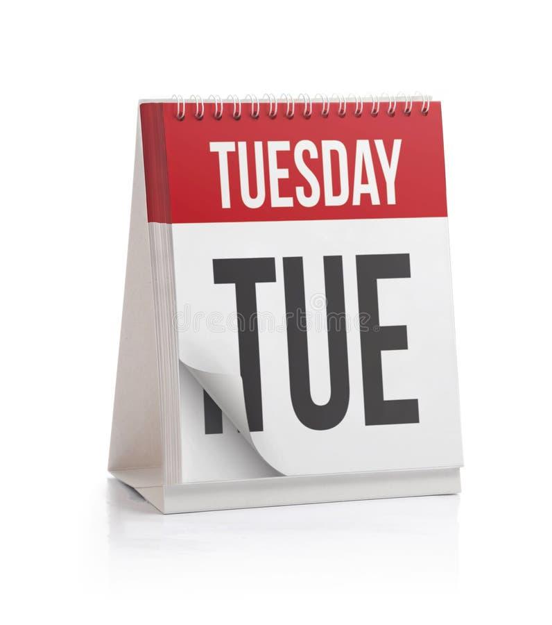 Calendario de la semana, página de martes foto de archivo libre de regalías