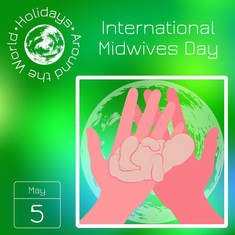 Calendario de la serie Días de fiesta en todo el mundo Evento de cada día del año Día internacional de las parteras E ilustración del vector