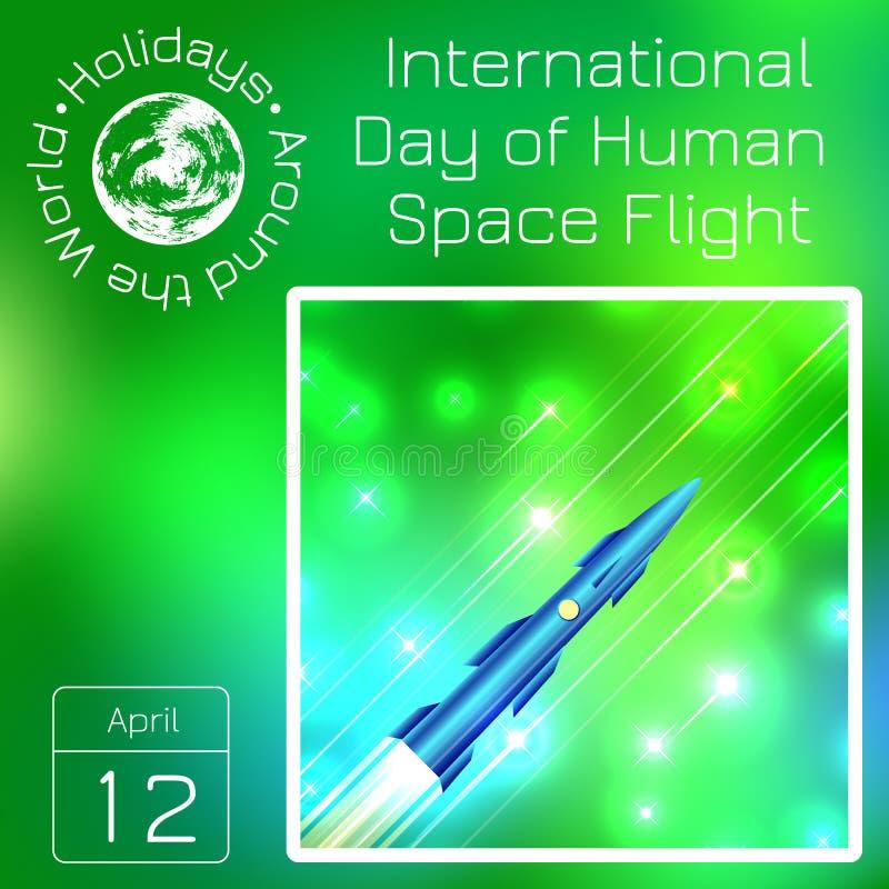 Calendario de la serie Días de fiesta en todo el mundo Evento de cada día del año Día internacional de vuelo espacial humano 12 d stock de ilustración