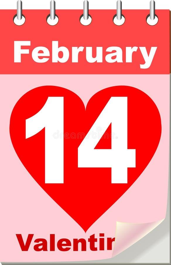Calendario de la tarjeta del día de San Valentín stock de ilustración