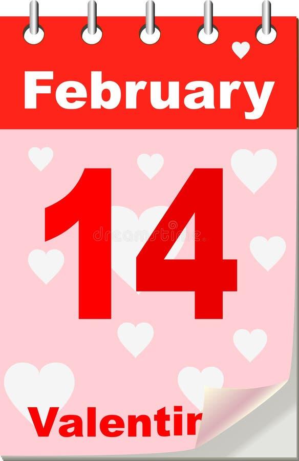 Calendario de la tarjeta del día de San Valentín libre illustration