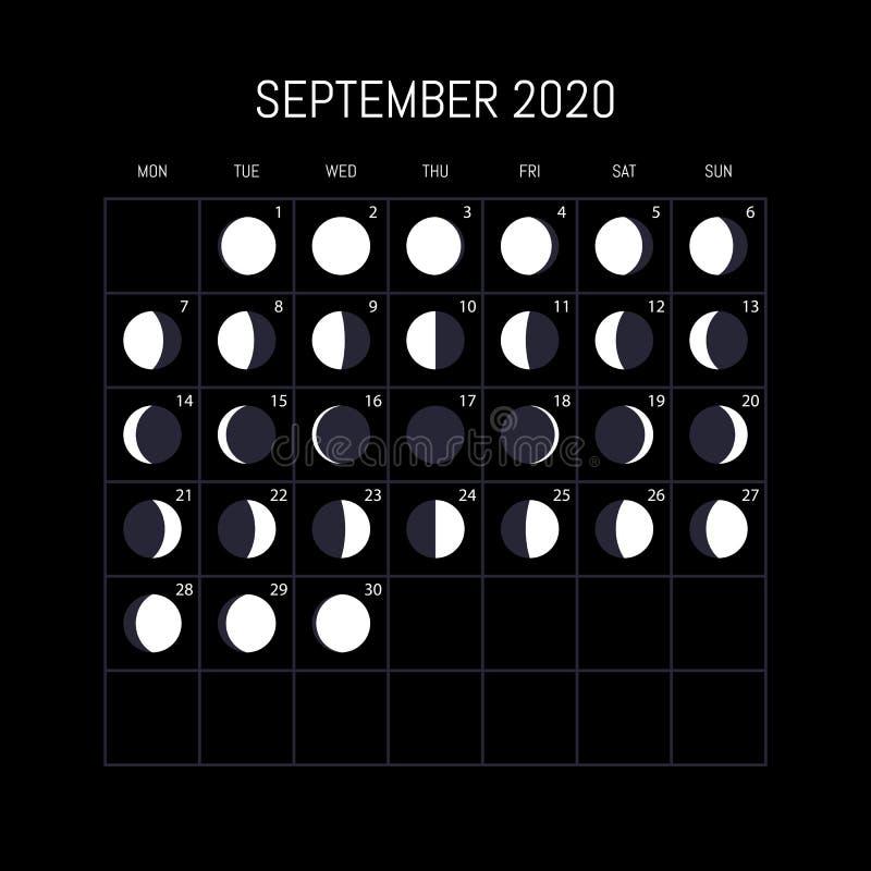 Calendario de las fases de la luna por 2020 años septiembre Dise?o del fondo de la noche Ilustraci?n del vector ilustración del vector