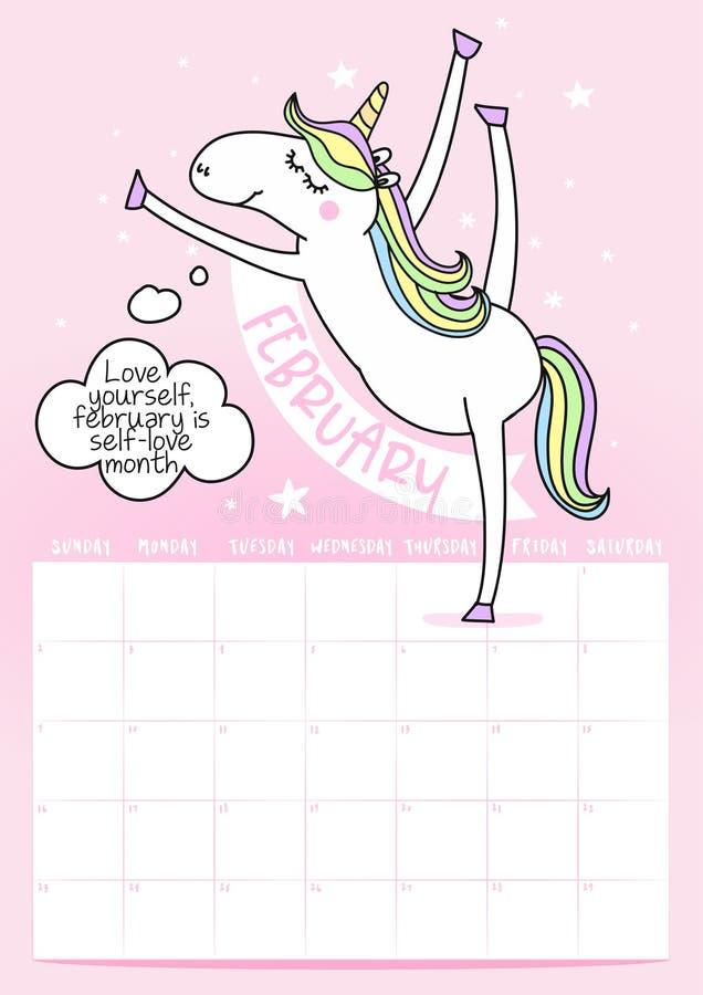 calendario de 2020 marchas con frase de la caligrafía y garabato del unicornio stock de ilustración