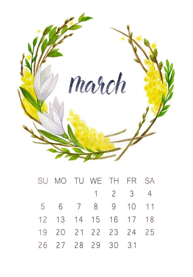 Calendario de marzo imagen de archivo libre de regalías