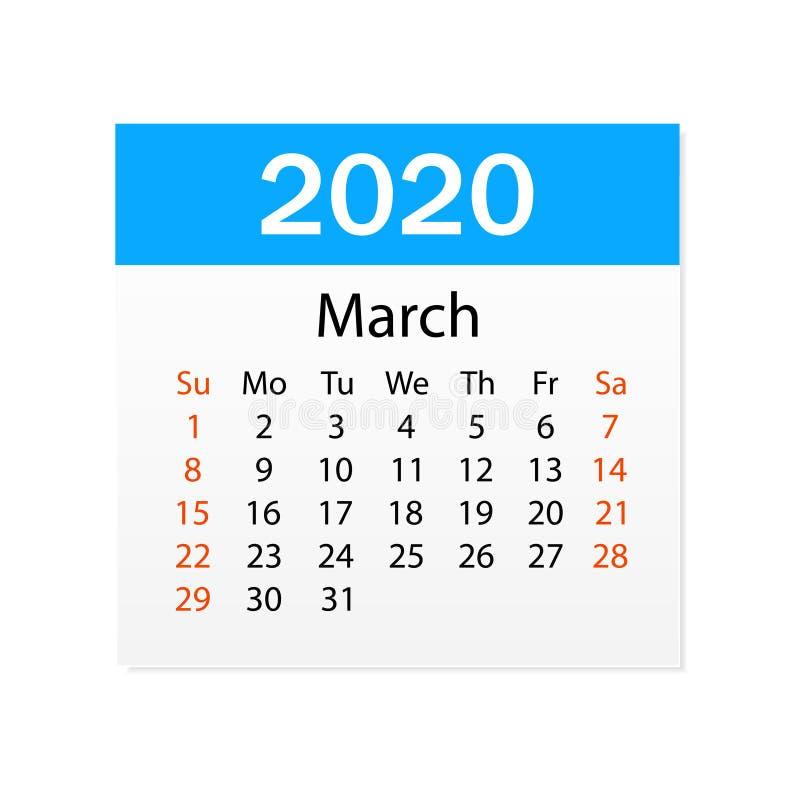 Calendario de marzo de 2020 Organizador personal Rasgue el calendario Fondo blanco Ilustraci?n del vector libre illustration