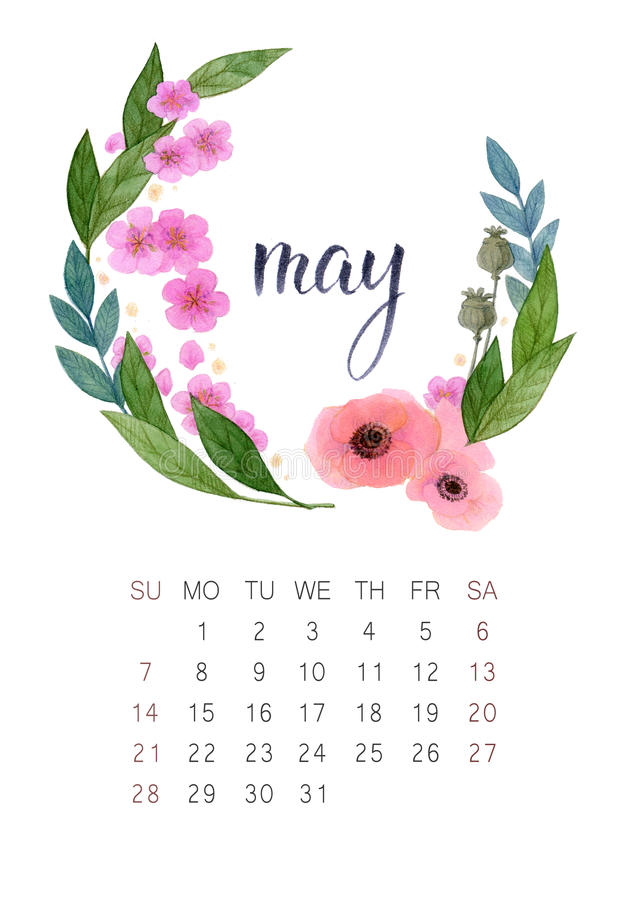 Calendario de mayo fotografía de archivo