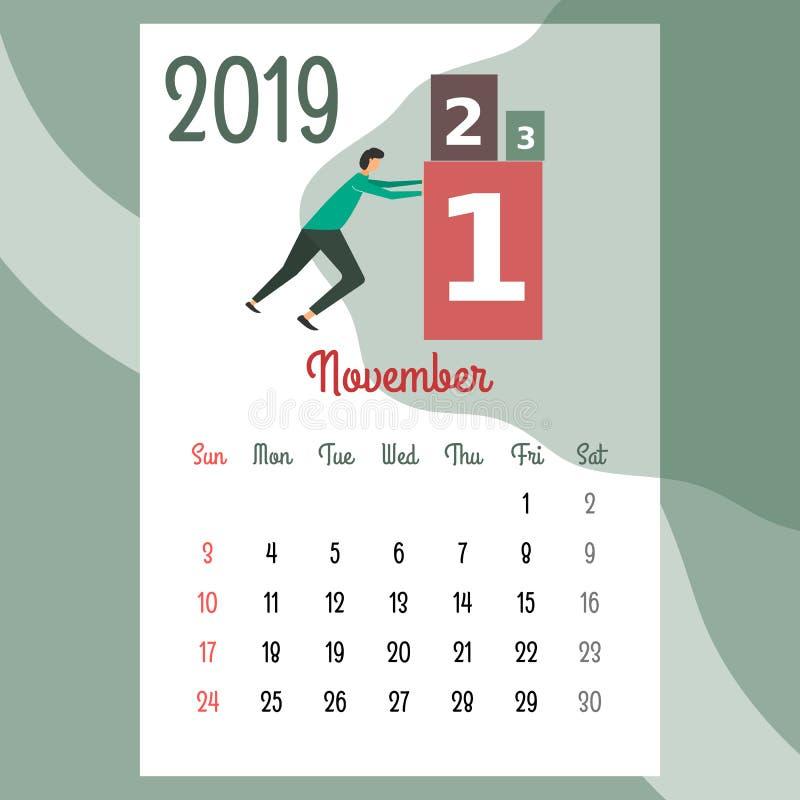 Calendario 2019 Calendario de noviembre Vector del calendario ilustración del vector