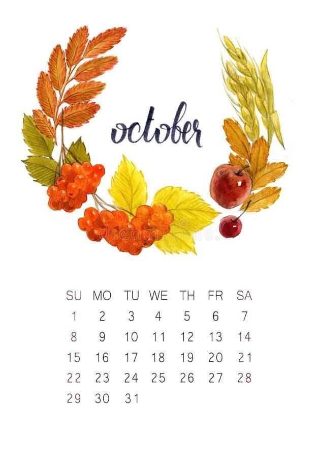 Calendario de octubre imagen de archivo