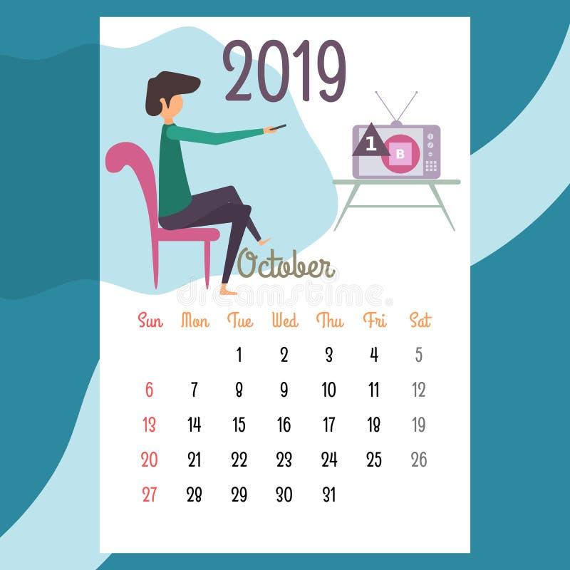 Calendario 2019 Calendario de octubre Vector del calendario libre illustration