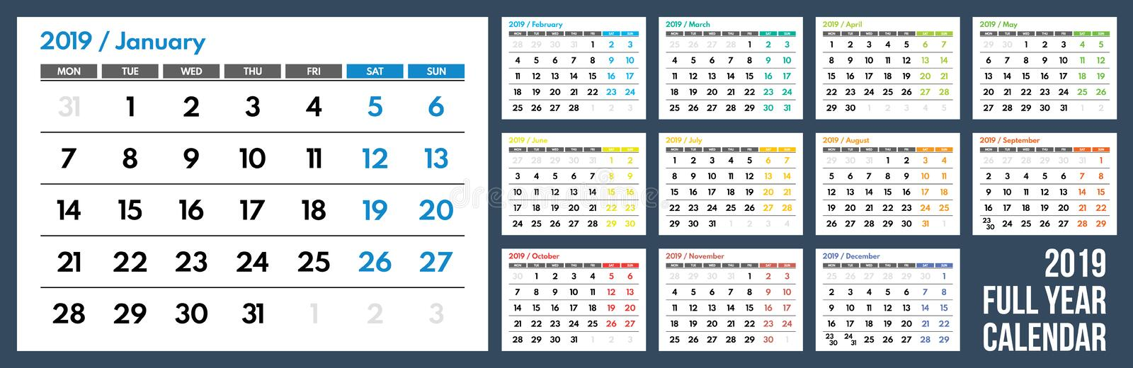 Calendario de pared coloreado 2019 fotografía de archivo libre de regalías
