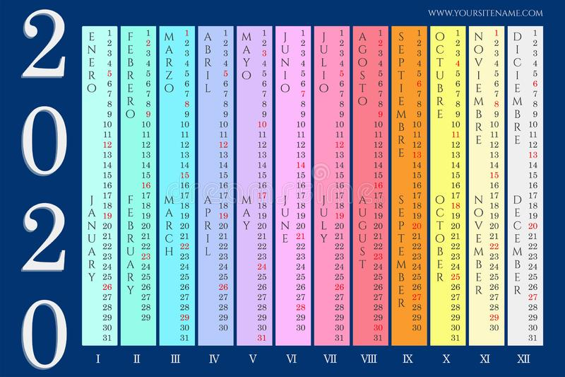 Calendario de pared colorido 2020 ilustración del vector