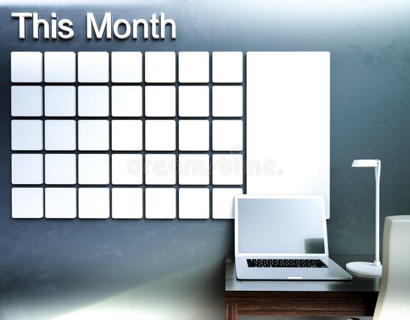 Calendario de pared Concepto del organizador de la gestión de la nota del horario stock de ilustración