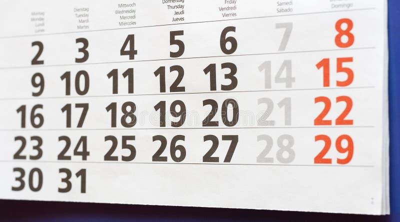 Calendario de pared - mes imagen de archivo