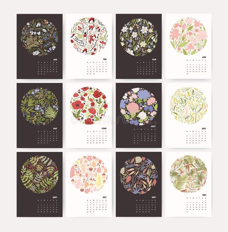 Calendario de pared por 2018 años con la composición de la naturaleza Comienzo de la semana el lunes Plantilla del diseño con el  libre illustration
