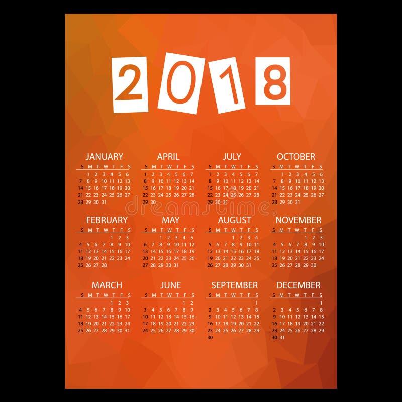 calendario de pared simple del negocio 2018 con el modelo rojo eps10 del tema del polígono bajo libre illustration