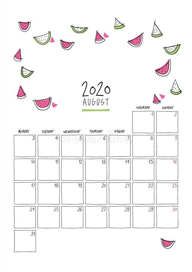 Calendario de paredes de doodle de agosto de 2020 ilustración del vector
