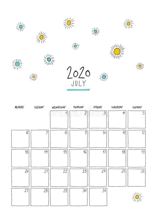 Calendario de paredes de doodle de julio de 2020 libre illustration