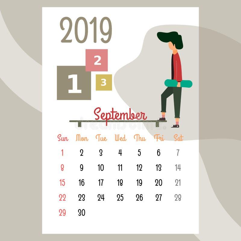 Calendario 2019 Calendario de septiembre Vector del calendario libre illustration