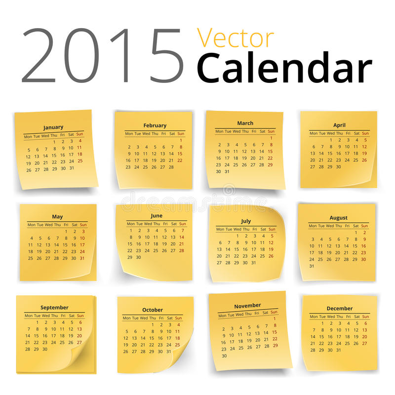 Calendario de Stiky ilustración del vector