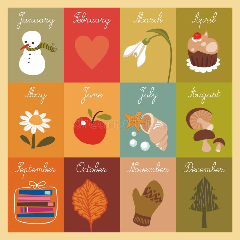 Calendario dei bambini illustrazione di stock