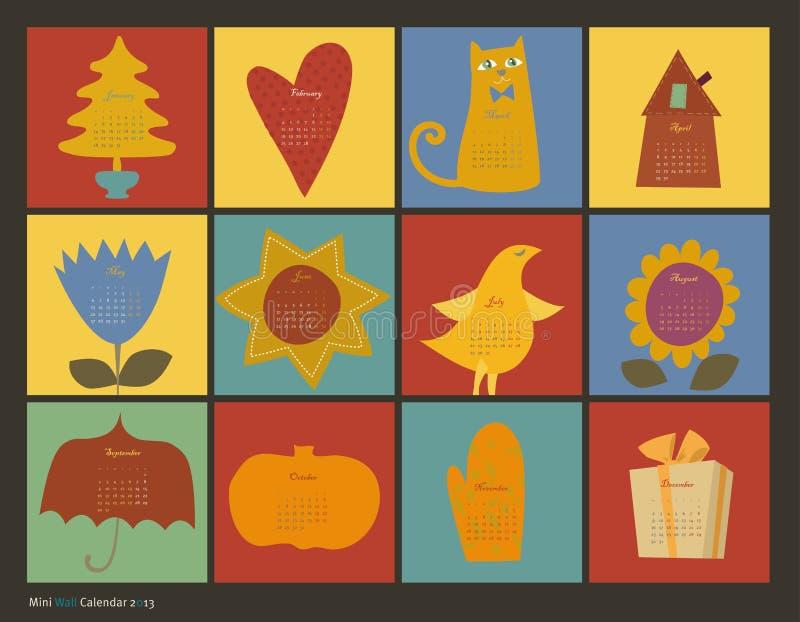 Calendario dei caratteri di colore di Scrapbooking royalty illustrazione gratis