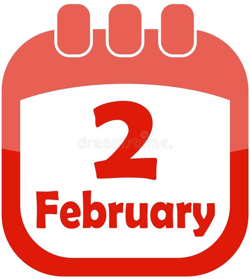 Calendario Del 2 Febbraio Dell Icona Fotografia Stock Libera da Diritti
