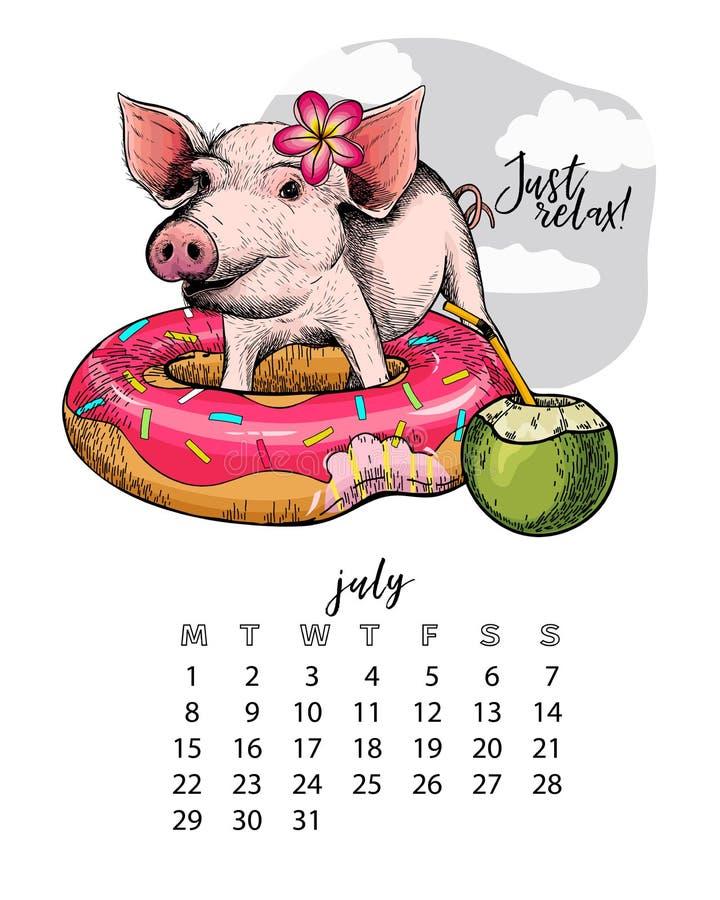 Calendario del año con el cerdo Ejemplo mensual Cochinillo dibujado mano con el flotador del buñuelo, coctail del coco, flor Juli stock de ilustración