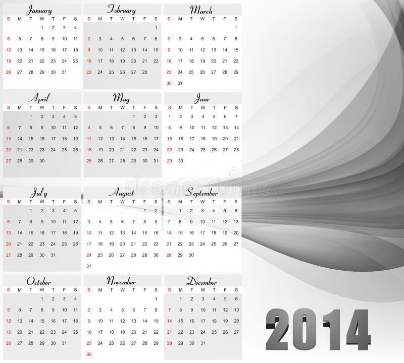 Calendario del Año Nuevo del vector 2014 para la onda stock de ilustración