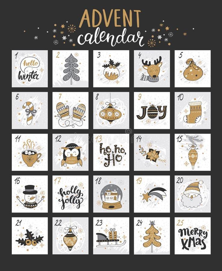 Calendario del advenimiento de la feliz Navidad con símbolos stock de ilustración