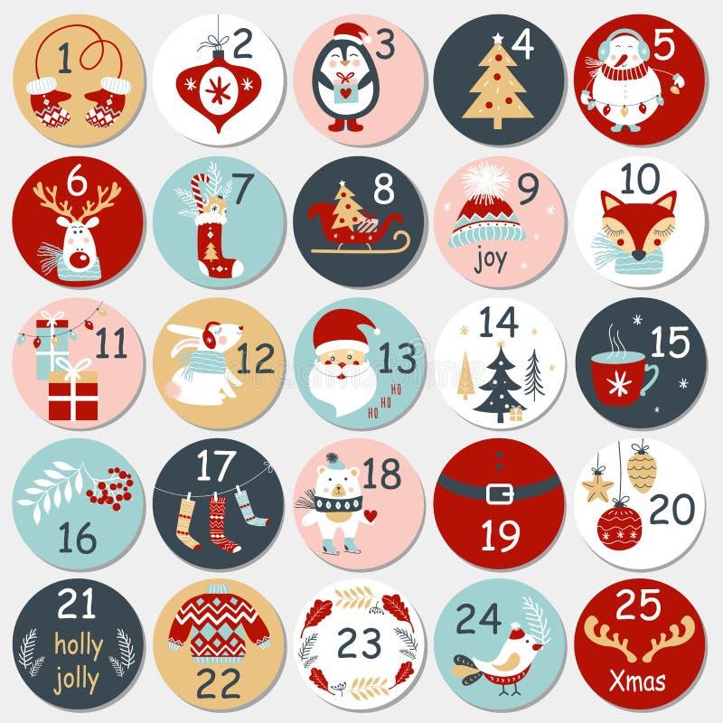 Calendario del advenimiento de la Navidad con los elementos dibujados mano Cartel de Navidad stock de ilustración