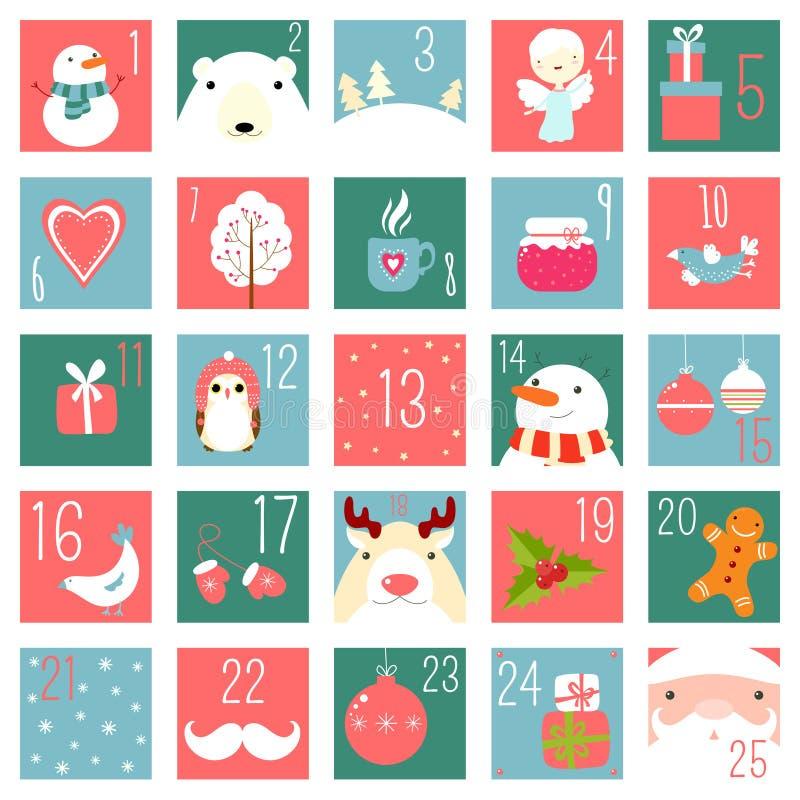 Calendario del advenimiento de la Navidad con los elementos en styl dibujado mano ingenua ilustración del vector