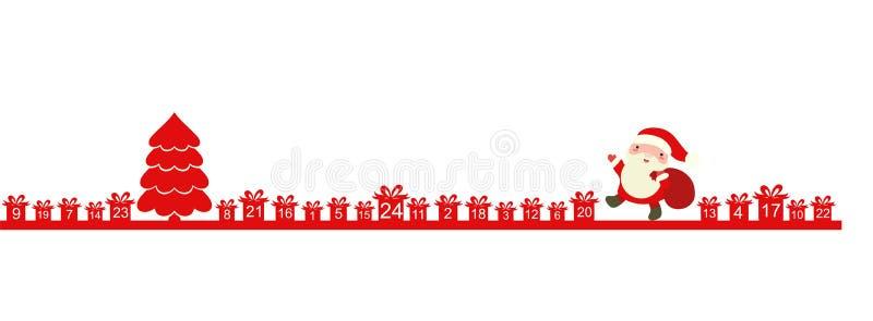 Calendario del advenimiento de la Navidad con Santa Claus stock de ilustración