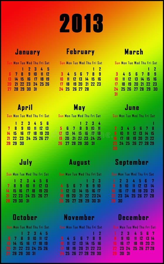 Calendario del arco iris para 2013 ilustración del vector