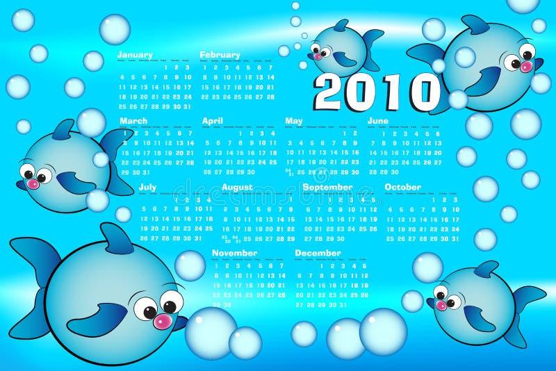 Calendario del bambino dei 2010 Spagnoli con i pesci illustrazione vettoriale