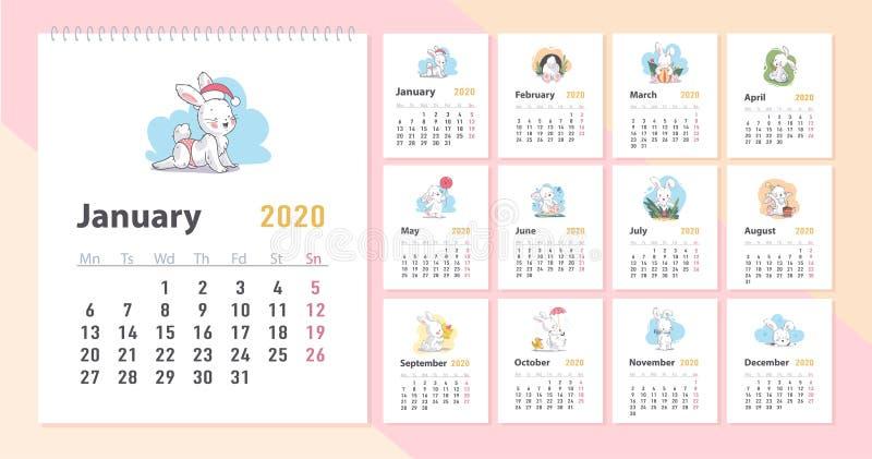 Calendario del bambino di vettore per un modello da 2020 anni con il piccolo carattere bianco divertente sveglio del coniglietto  royalty illustrazione gratis