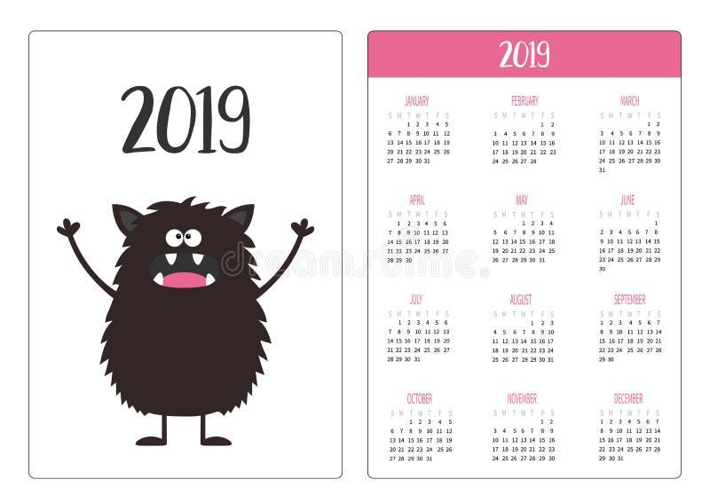 Calendario del bolsillo 2019 años La semana comienza domingo Icono negro del monstruo Carácter divertido lindo del bebé del kawai stock de ilustración