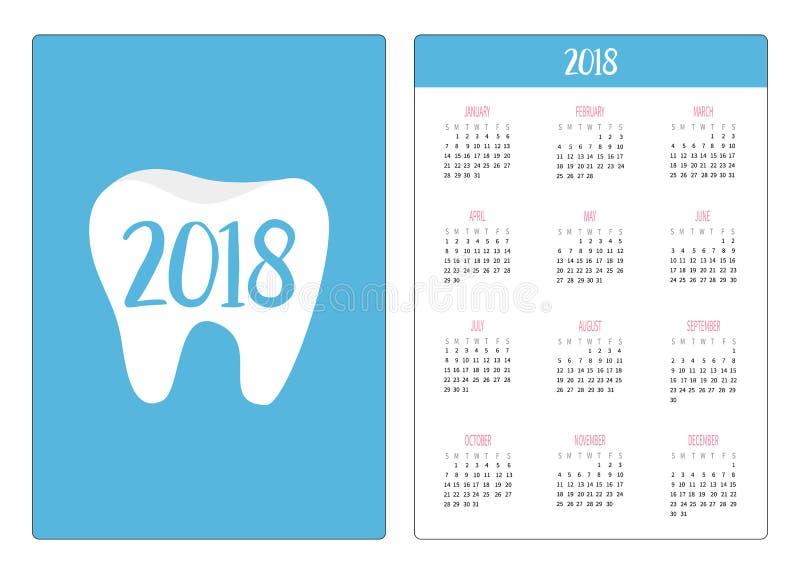 Calendario del bolsillo 2018 años La semana comienza domingo Icono sano del diente Higiene dental oral Cuidado de los dientes de  libre illustration