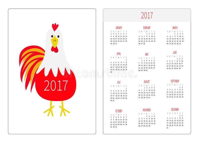 Calendario 2017 del bolsillo La semana comienza domingo Plantilla vertical de la orientación del diseño plano Pájaro rojo del gal stock de ilustración