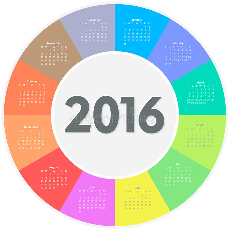 Calendario del círculo por 2016 años ilustración del vector