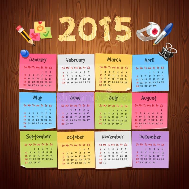 Calendario del calendario 2015 de las etiquetas engomadas de la oficina en de madera ilustración del vector