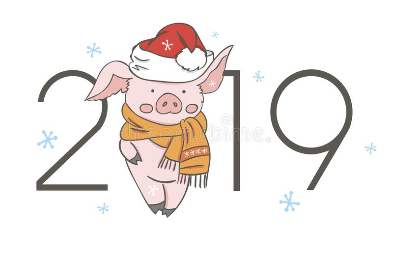 Calendario del cerdo para 2019 Plantilla editable del vector con concepto Símbolo del año en el calendario chino Vector realista stock de ilustración