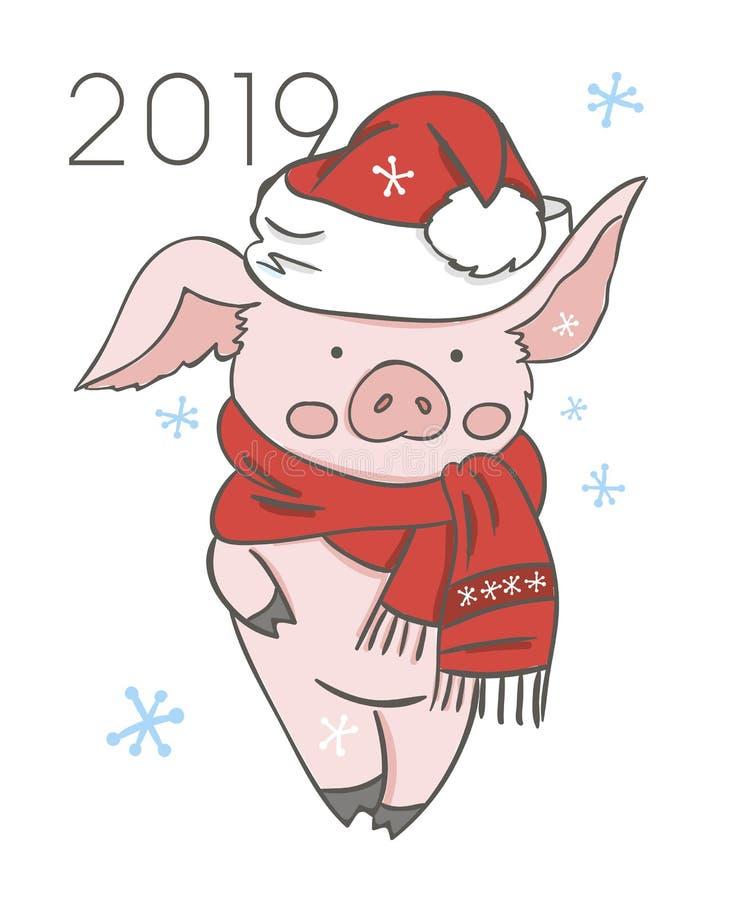 Calendario del cerdo para 2019 Plantilla editable del vector con concepto Símbolo del año en el calendario chino Vector realista ilustración del vector