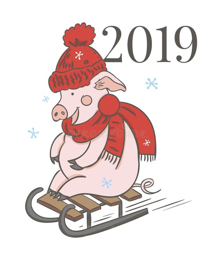 Calendario del cerdo para 2019 Plantilla editable del vector con concepto Símbolo del año en el calendario chino Vector realista libre illustration